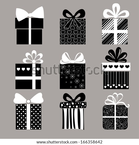 The set of vector black and white gifts - stock vector