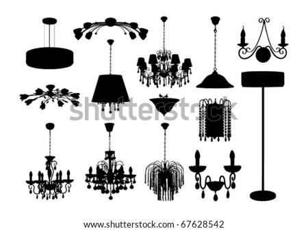 The set of vector chandelier silhouettes 2 - stock vector