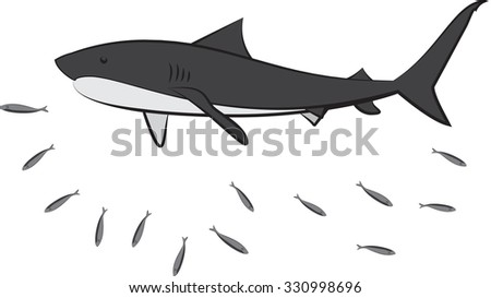 The sharks and fish on a white background. Illustration of a shark vector. - stock vector