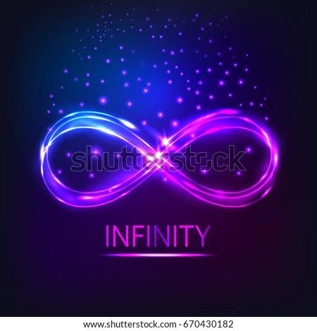 Shining Infinity Symbol Neon Shining Object Stock Vector Royalty