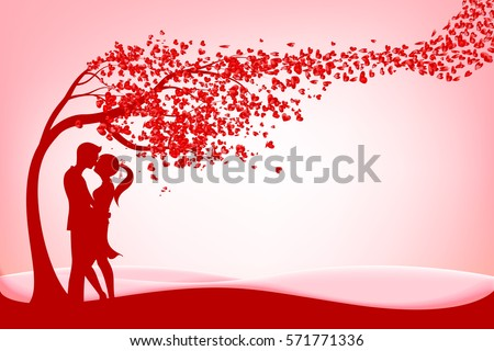 The Silhouette couple under three of love with heart on pink background vector illustration eps 10