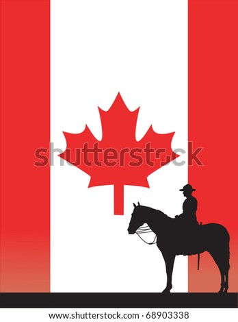 The silhouette of a Canadian Mounted Police officer against a Canadian flag - stock vector