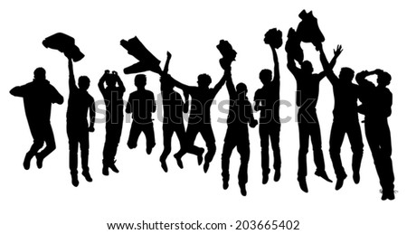 the silhouette of a group of boys jump for joy vector - stock vector