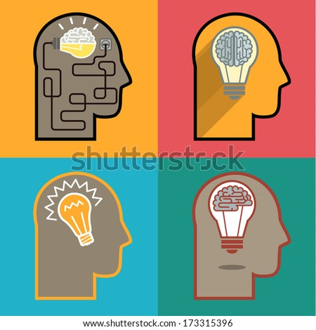 The silhouette of a man's head and image of the bulb. Concept of Idea - stock vector