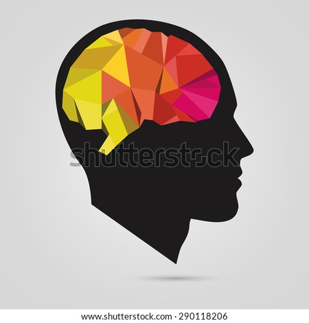 the silhouette of a man's head with abstract brain. Vector - stock vector