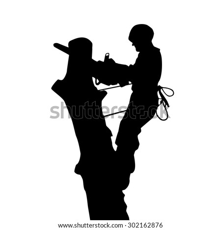 The silhouette of an arborist on the tree - stock vector
