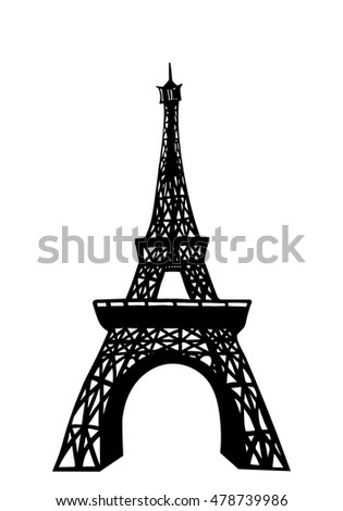 The silhouette of the Eiffel tower in black on a white background. Freehand drawing