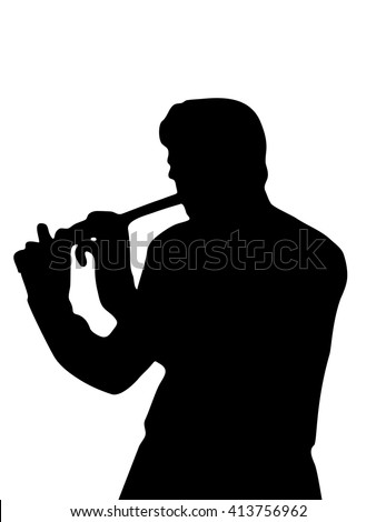 The silhouette playing a flute