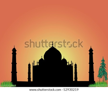 The silhouette Taj Mahal on an orange background - stock vector