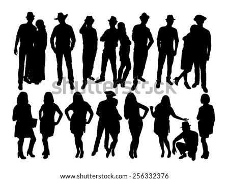 The silhouettes of man and woman - stock vector