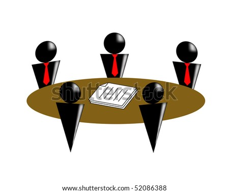 The silhouettes of the people sit around of a round table - stock vector