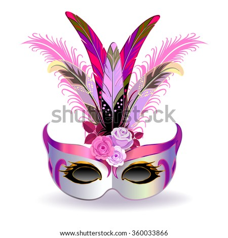 The silver carnival mask with multicolor feathers. The mask decorated with pink pattern and pink roses. - stock vector