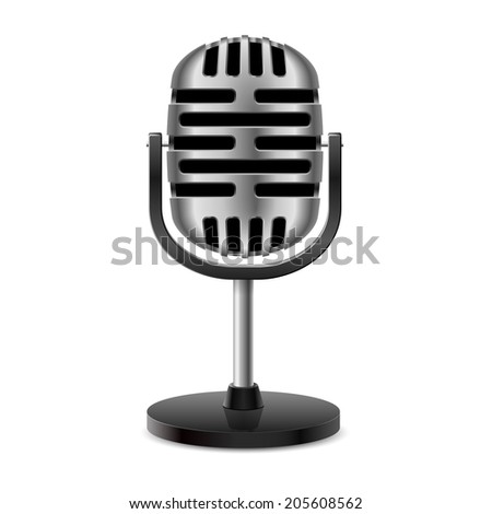 The silver metal vintage retro isolated microphone. - stock vector