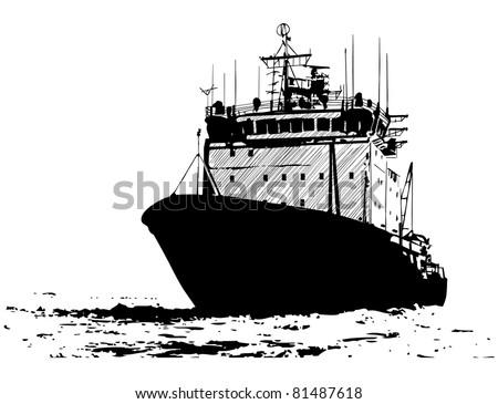 The sketch of a ship - stock vector