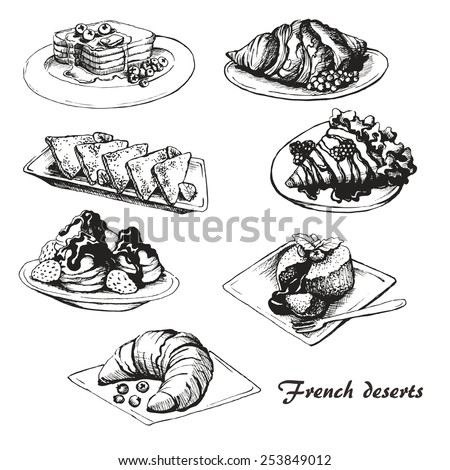 The sketch of French desserts.  Set