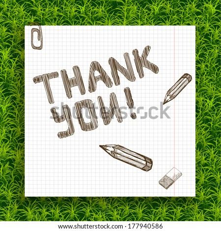 The sketch of the words Thank You. Hand-drawn with pencil on the paper. Vector illustration, - stock vector