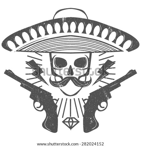 The skull in Mexican hat with guns - stock vector