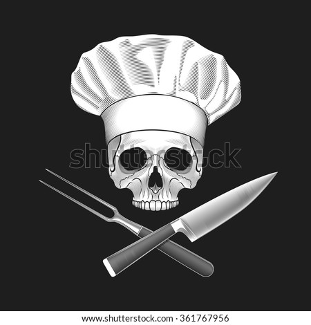 The skull in toque. Crossed knife and fork. Vector illustration. - stock vector