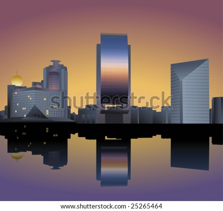 the skyline of dubai creek - stock vector