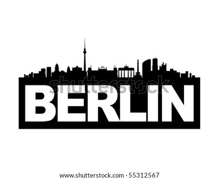 The skyline of Germany's capital Berlin with the city's name on it's base. This vector-illustration is black and white and isolated. - stock vector
