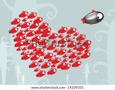 The small fish escaping from crowd of admirers - stock vector