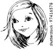 The small girl has drawn in a vector - stock vector