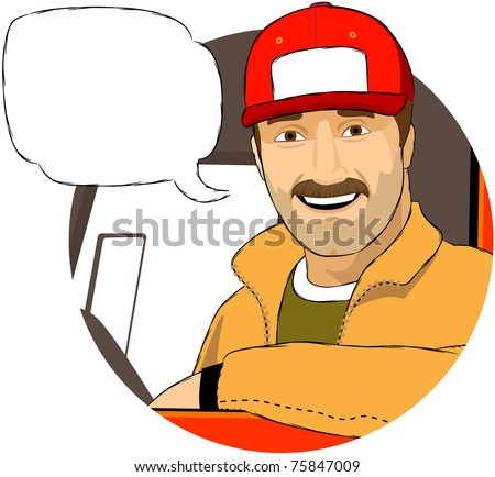 The smiling driver in his truck.  The text field for your company logo is on his hat. Mustache can be easily removed. - stock vector