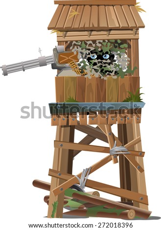 the sniper in the tower with a machine gun - stock vector