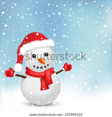 The snowman with red scarf and red hat on the snowfall background - stock vector