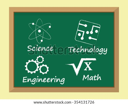 The so called STEM subjects for learning, Science, Technology, Engineering and Mathematics written on a blackboard alongside appropriate symbols - stock vector