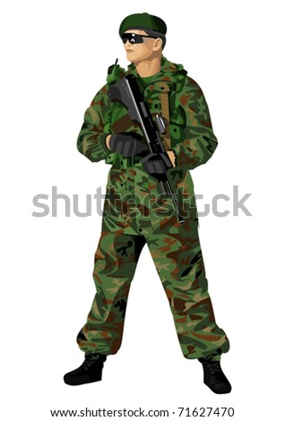 The soldier holding a rifle. Highly detailed vector. - stock vector