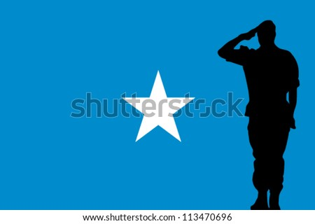 The Somalia flag and the silhouette of a soldier saluting - stock vector