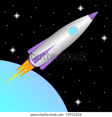 The space rocket flies in a free space. - stock vector