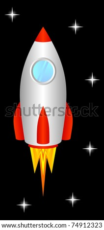 The space rocket flies upwards, to space. - stock vector