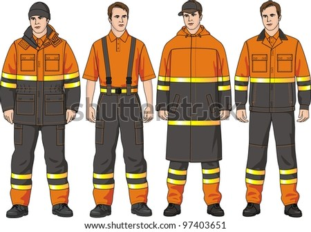 The special clothes consist of a jacket of trousers and a raincoat - stock vector
