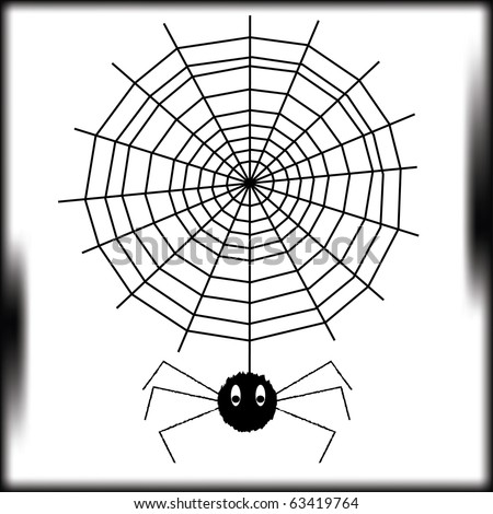 The spider goes down on a web in a dark premise