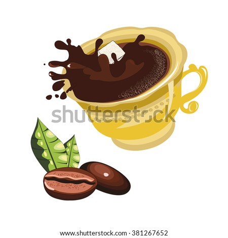 the spray of coffee from a coffee Cup with coffee beans  - stock vector