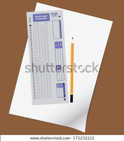 The standard form of 50 questions on the test with a pencil. Vector illustration. - stock vector
