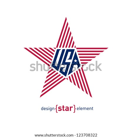 The star with american flag colors Abstract vector design element - stock vector