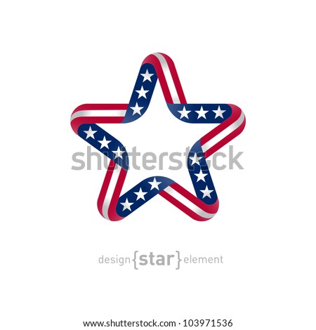 The star with american flag colors and symbols vector design element - stock vector