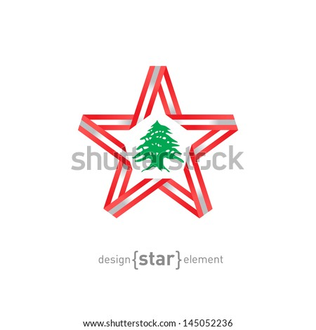 The star with Lebanon flag colors and symbols vector design element - stock vector