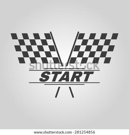 The start icon. Start symbol. Flat Vector illustration - stock vector