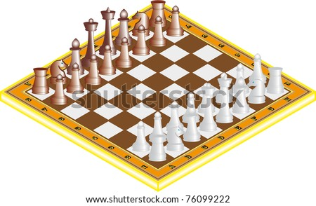 The starting positions of the chess pieces on the chess board - stock vector