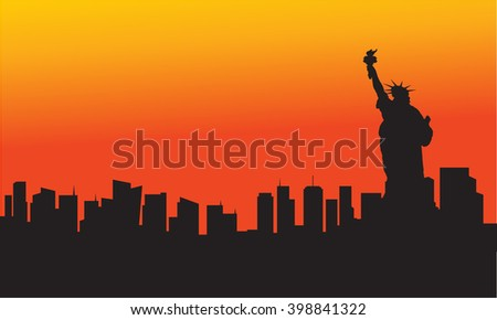 The Statue of Liberty at sunset with orange background