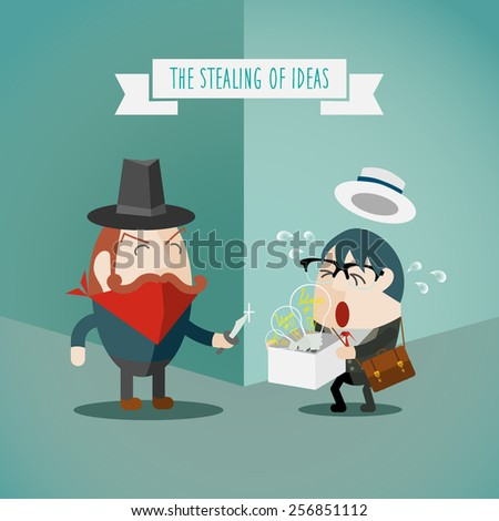 The Stealing of businessman Ideas, Bandits lurking in the corner - stock vector
