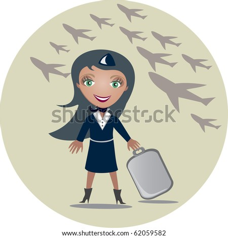The stewardess holds a suitcase in hands - vector illustration - stock vector
