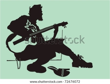 The street musician - a black silhouette - stock vector