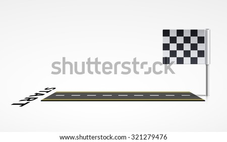 the stretch of road from start to finish - stock vector