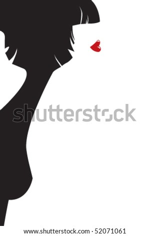 The stylised female profile - stock vector