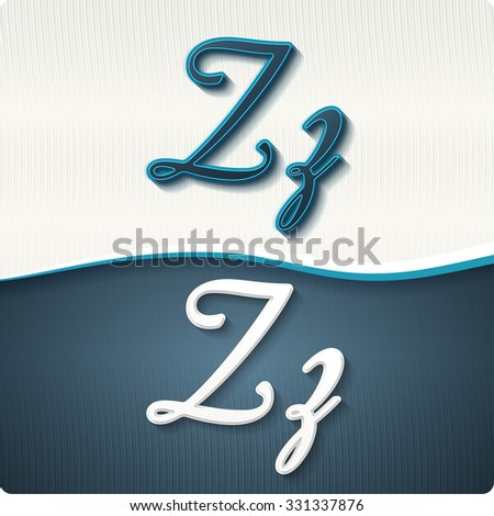 """The stylish white and blue italic letters of the alphabet, three-dimensonail, with shadows. The capital letters """"Z"""" and lowercase """"z."""" Set, vector EPS10. - stock vector"""